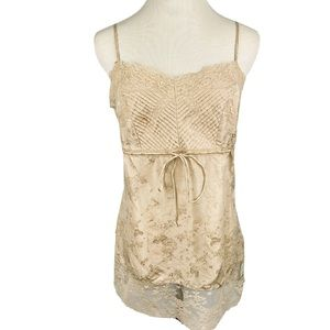 EXPRESS Beige Lace Pleat Silk Cami Adjustable Top